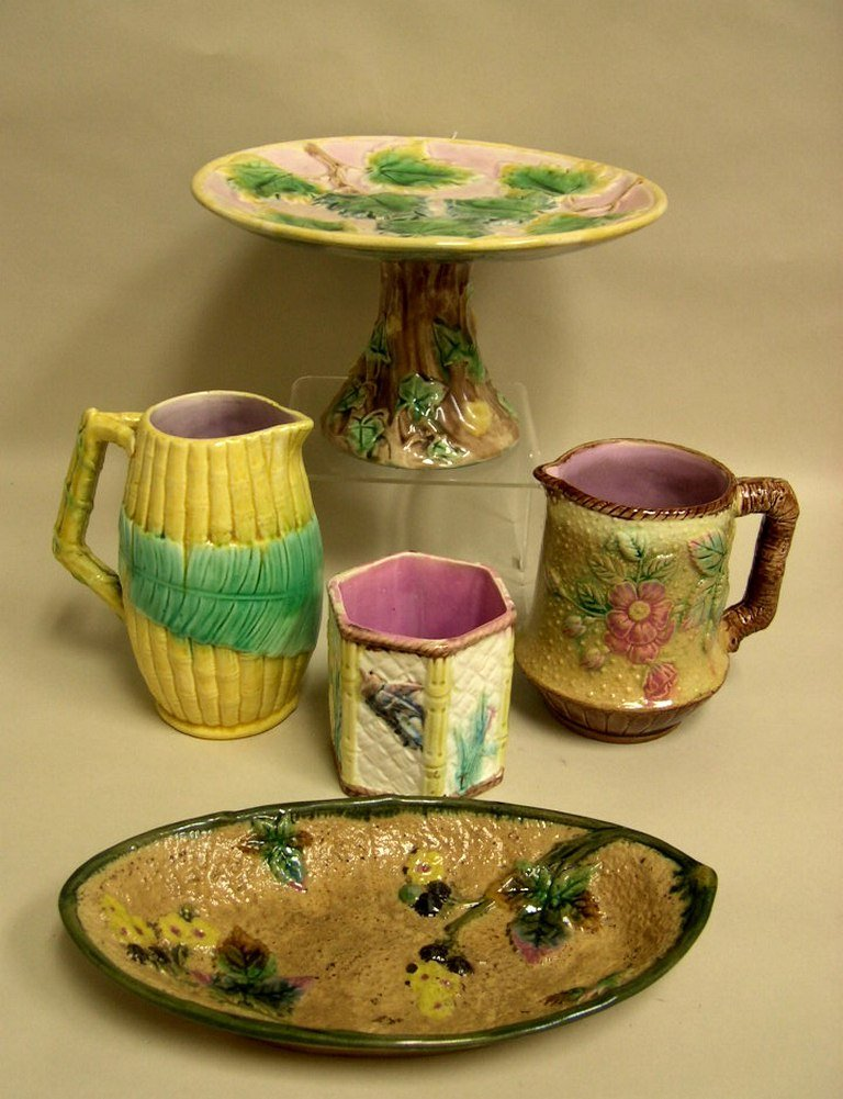 Group of Majolica including Etruscan Ivy Compote
