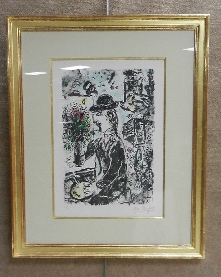 "Marc Chagall Color Lithograph ""Le Peintre au Chapeau"""