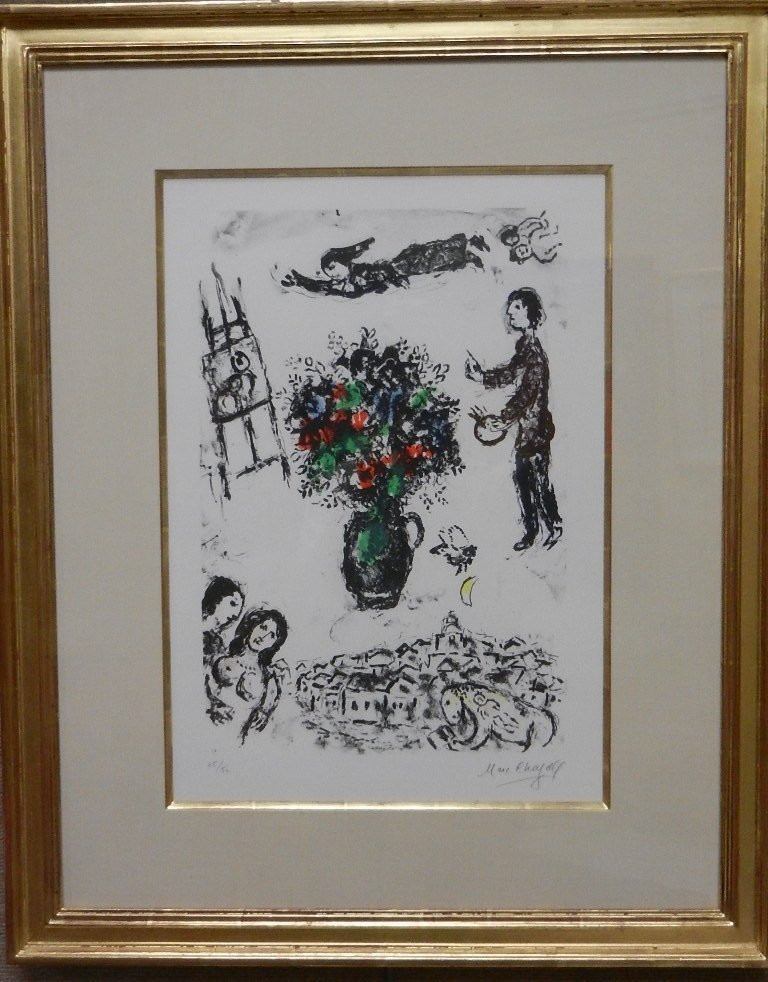 "Marc Chagall Color Lithograph ""Bouquet sur la Ville"""
