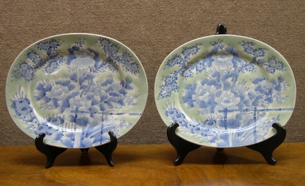 Pair of Asian Porcelain Celadon Oval Plates