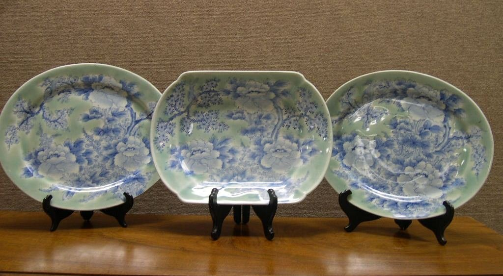 (3) Asian Celadon Serving Plates
