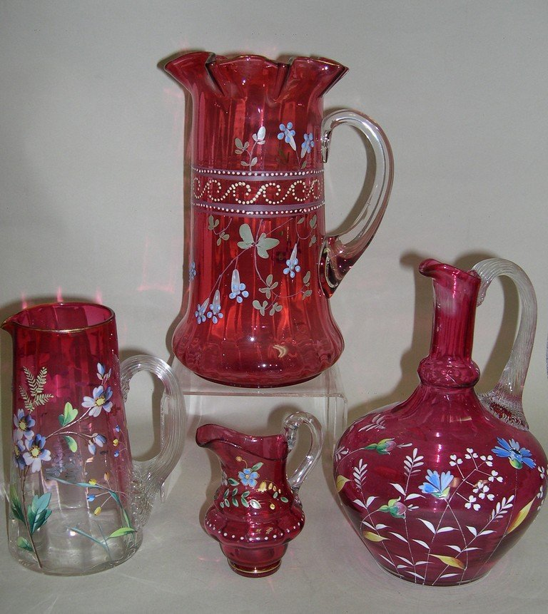 Vintage Cranberry Gass and Enamel Pitchers (4)