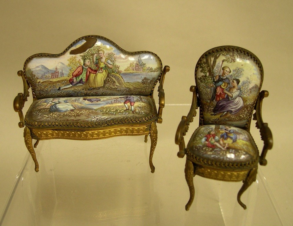 Continental Gilt Metal and Enamel Dolls Furniture