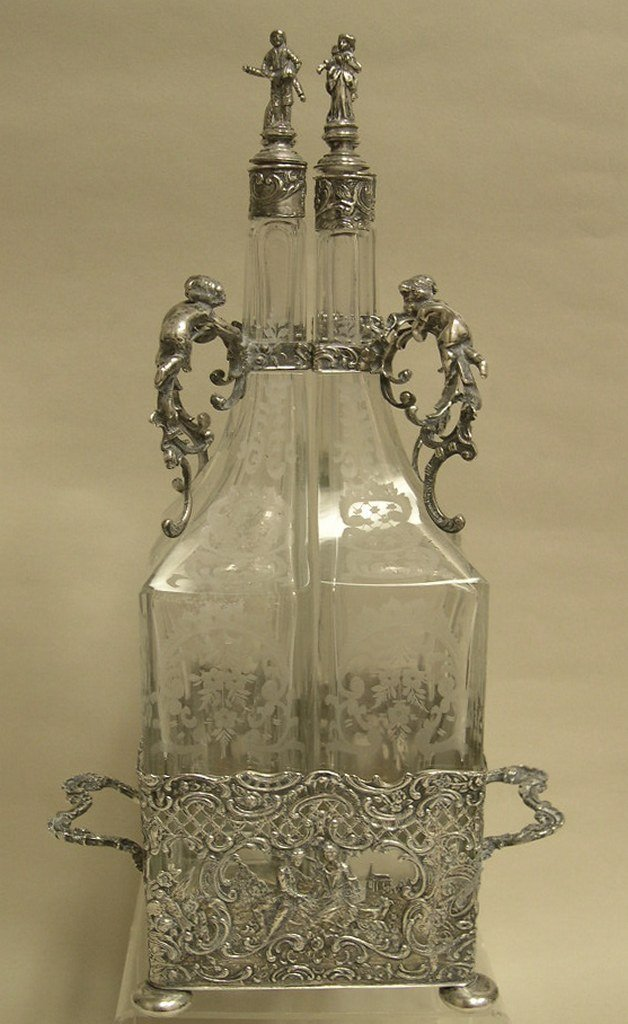 German Silver and Etched Glass 4-bottle Decanter Set