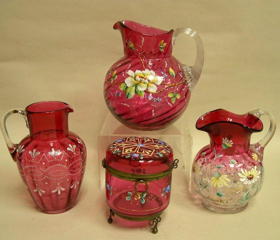 Vintage Cranberry Glass & Enamel Pitchers & a Box