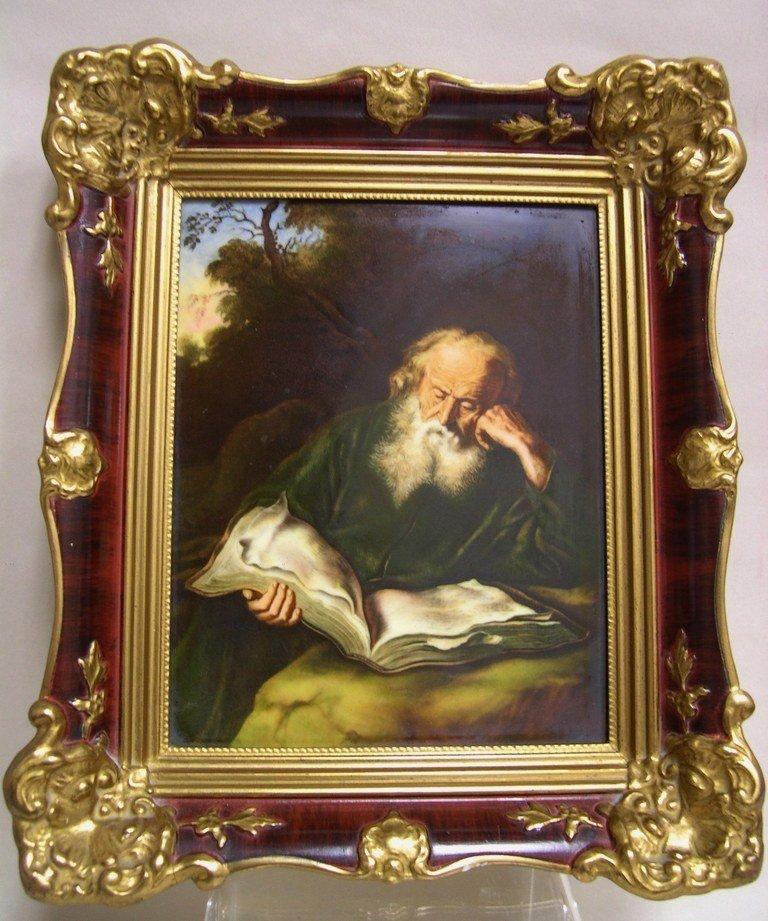 """Rosenthal Porcelain Plaque """"The Hermit"""", Framed"""