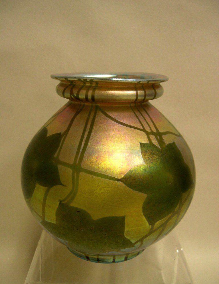 Tiffany Gold Favrile Millefiore Art Glass Vase