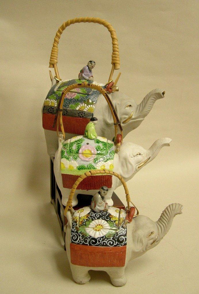 (3) Japanese Banko Ceramic Elephant Teapots