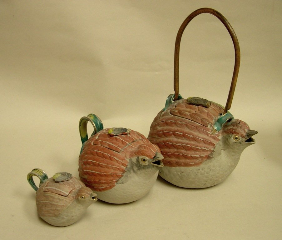 (3) Japanese Banko Ceramic Bird Teapots