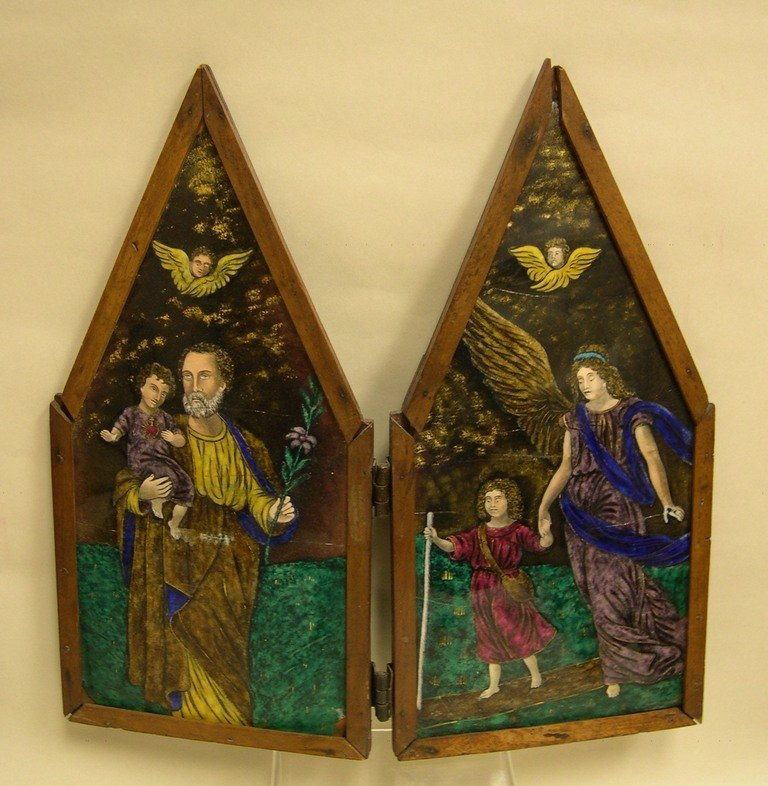 Continental 2-section Enamel on Copper Altar Screen