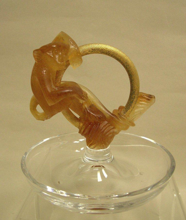 Daum Crystal Monkey Ornamental Ring Dish
