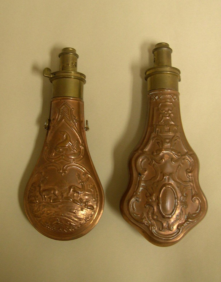 Two (2) Copper and brass Powder Flasks