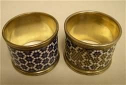 Russian Silver GIlt  Enamel Napkin Rings 2
