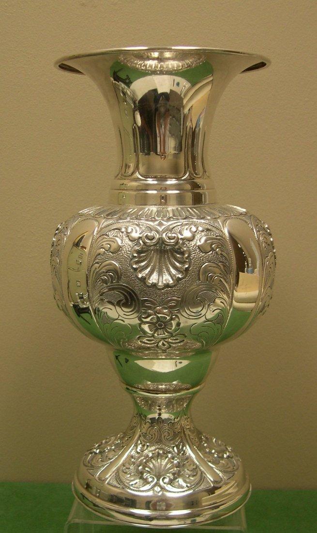Italian Silver Repousse Tall Decorative Vase 800