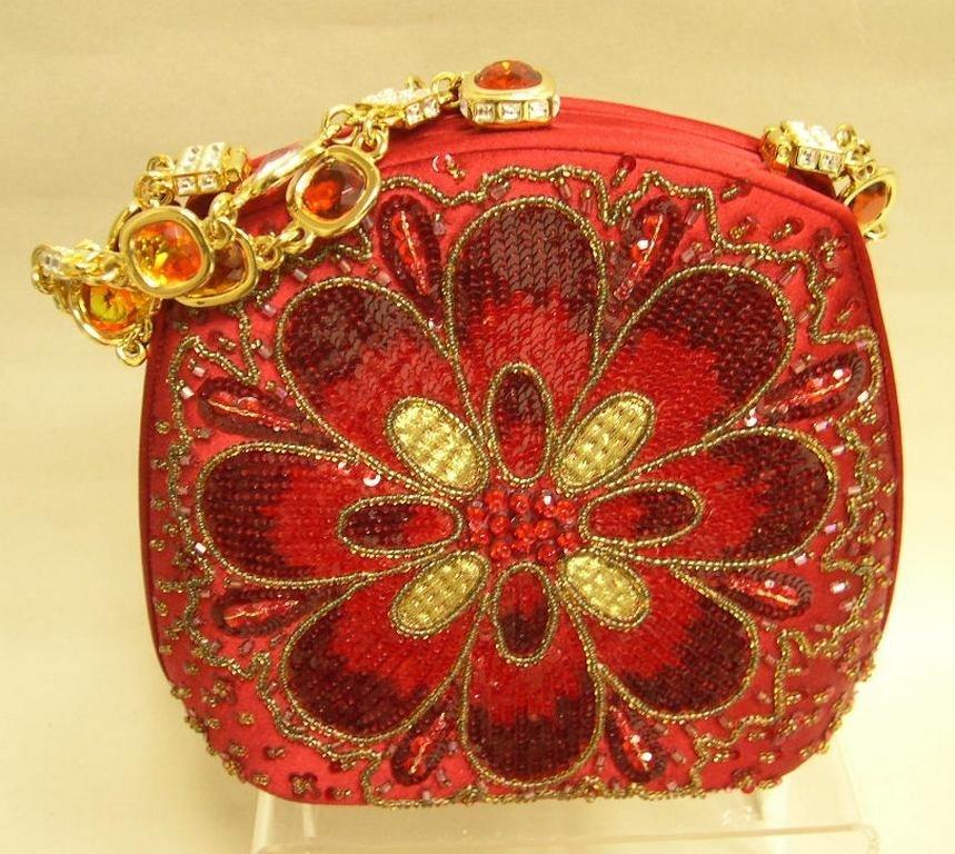 Judith Leiber Red Silk Evening Bag Sequins Rhinestones
