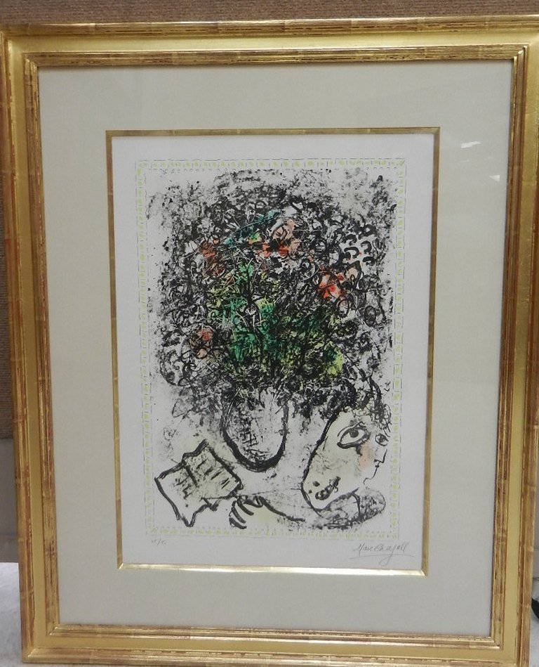 MARC CHAGALL  Color Litho #25/50 Art Flowers, 1983