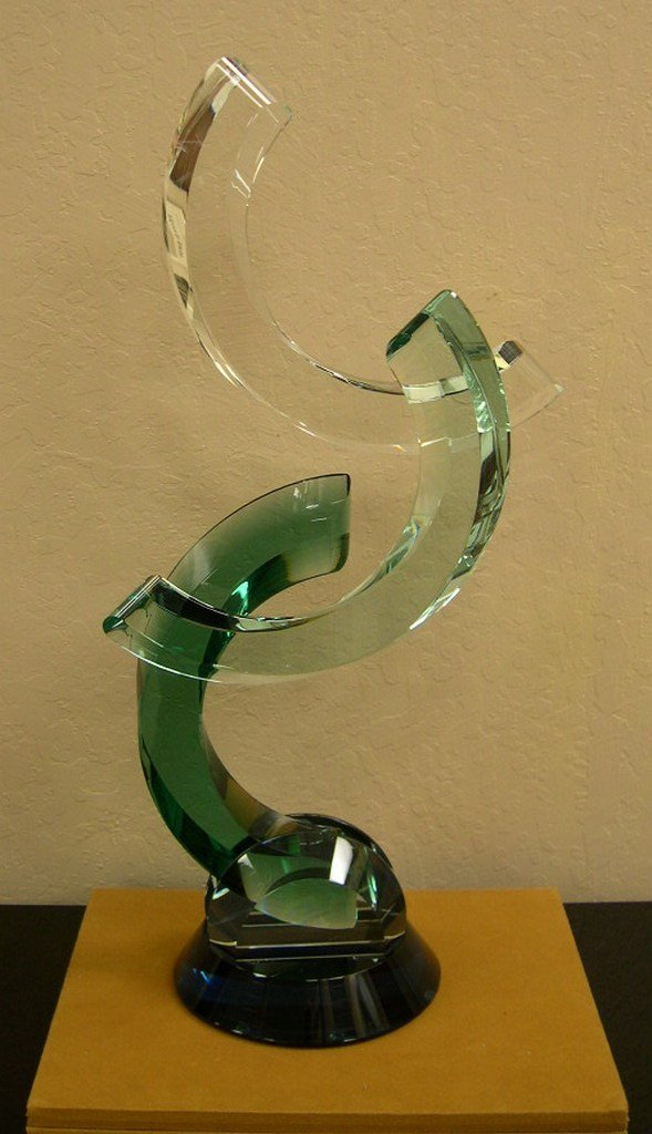 """JAMES RANDOLPH Glass Sculpture """"The Embrace"""", Signed"""