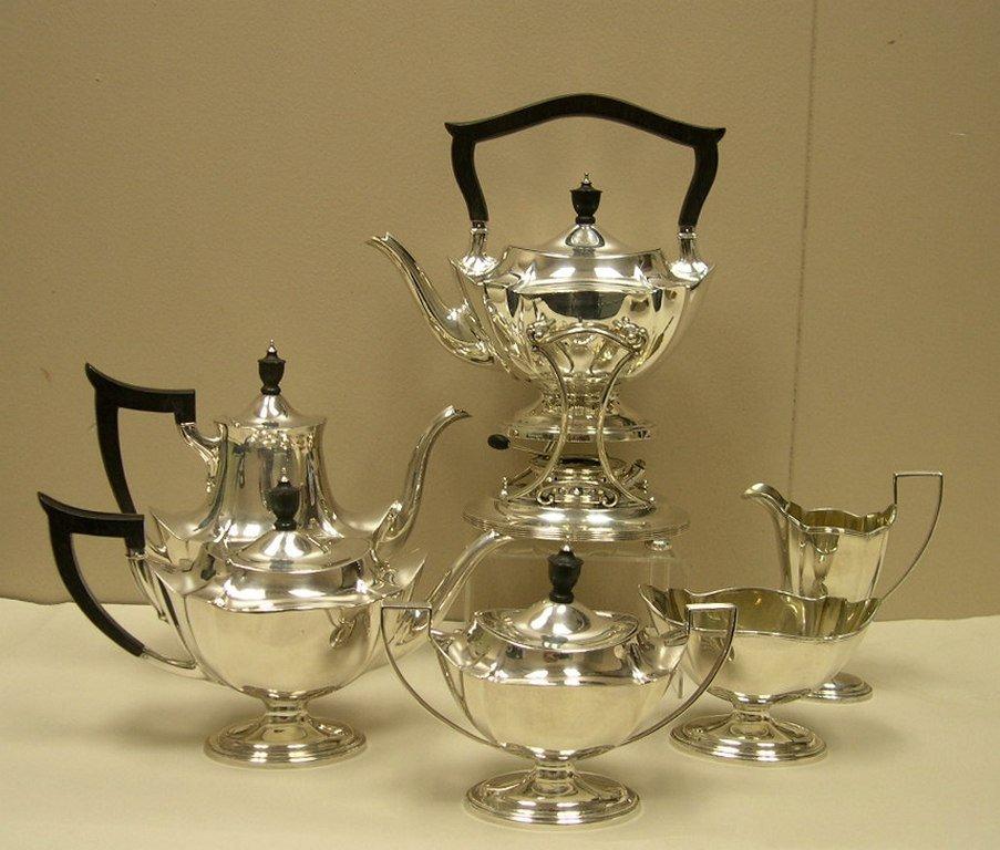 "Gorham Sterling Silver ""Plymouth"" Tea Set w/Tea Kettle"