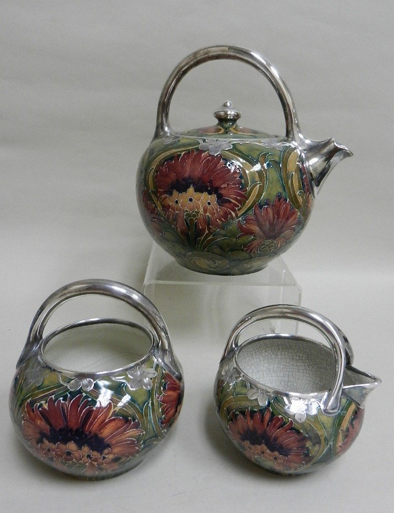 MOORCROFT Tea set Red Cornflower with Silver Overlay
