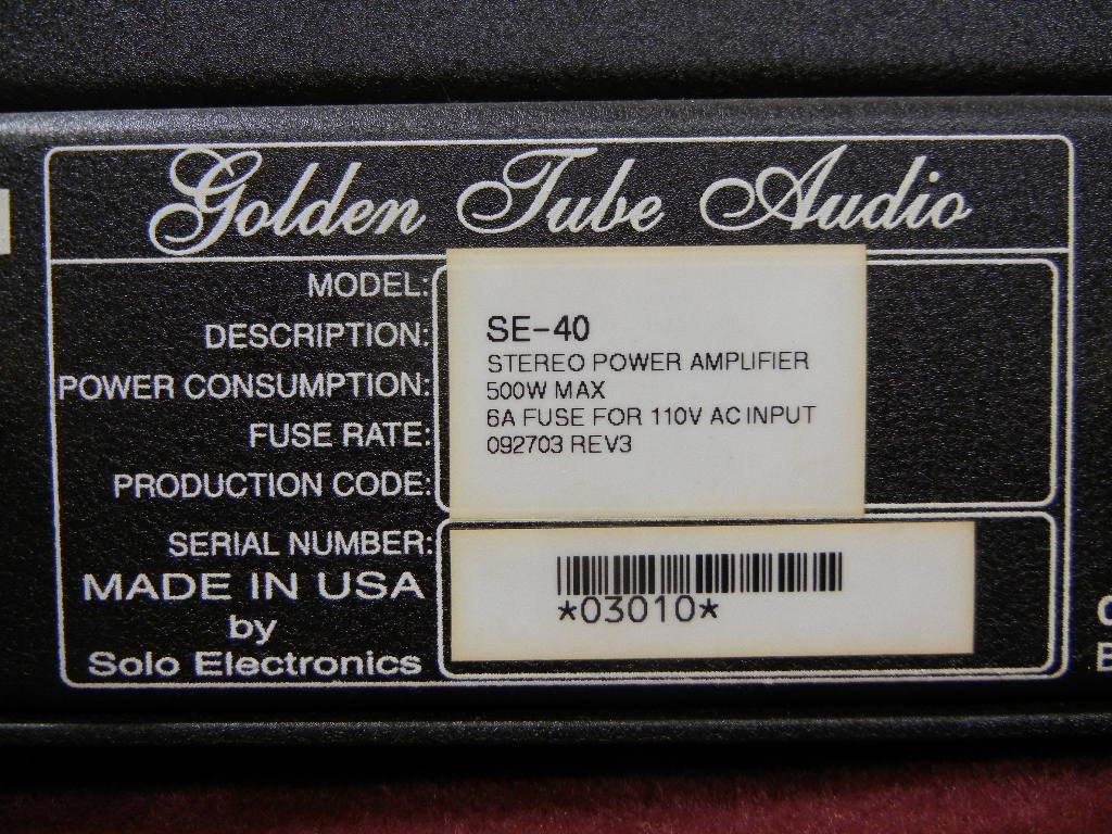 Golden Tube Audio SE-40 Stereo Power Amplifier - 5