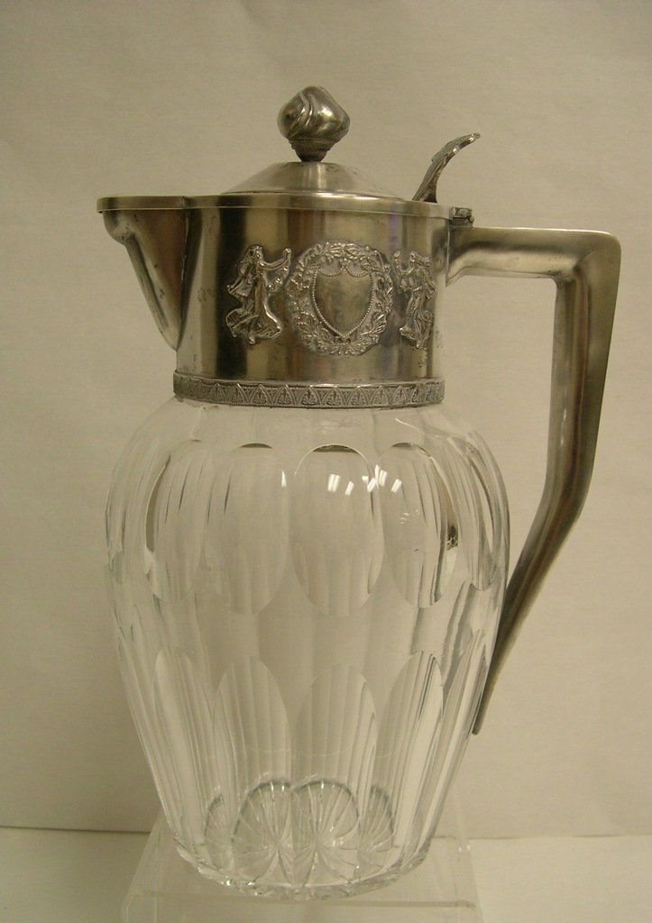 Russian Silver Mounted Cut Glass Claret Jug. Silver