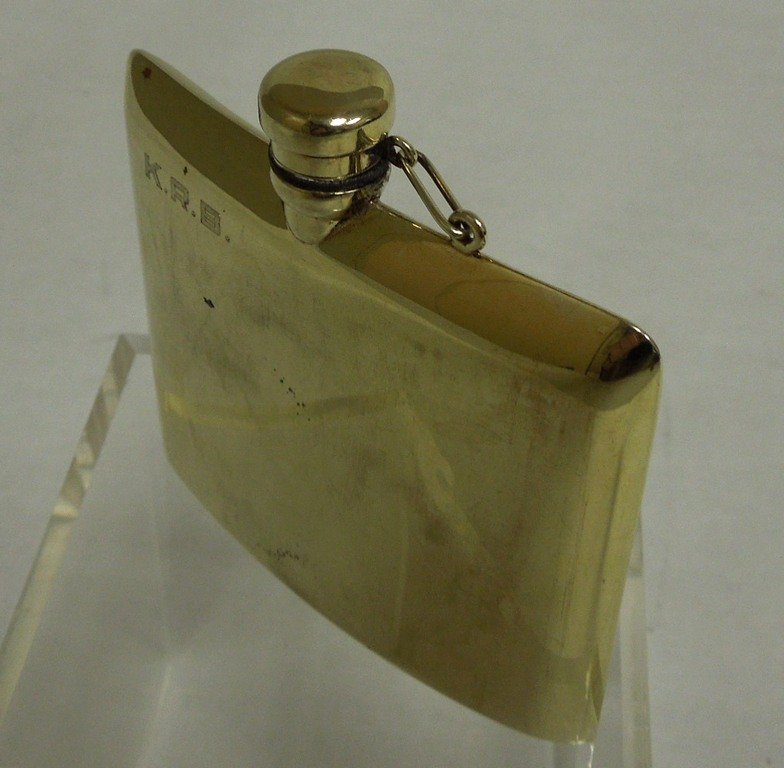 14K Gold Hip Flask. Marked and tested 14K gold,