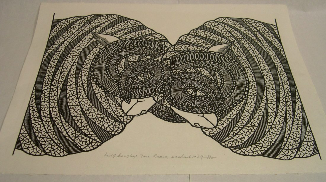 Jacques Hnizdovsky Woodcut Two Rams 1969