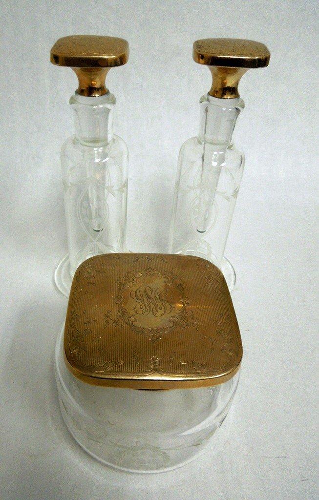 14kt Gold Lidded Etched Glass Dresser Set