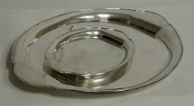 (2) German 800 silver oval trays - matching