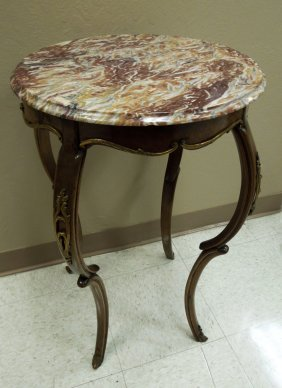 French Walnut Marble Top Occasional Table