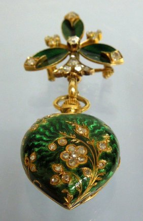 Lady's Gold and Guilloche Enamel and Diamond Pendant