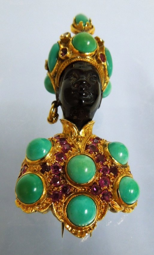 G. Nardi 18kt Gold and Jeweled Blackamoor Fur Clip
