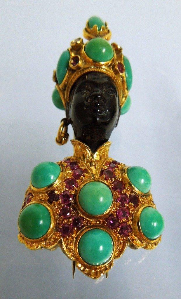 G. Nardi 18kt Gold and Jeweled Blackamoor Fur Clip