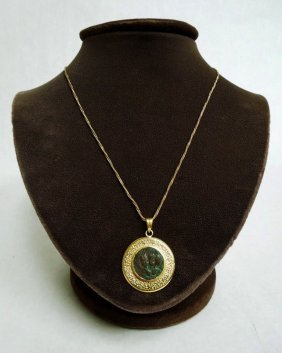 18Kt Gold Framed Ancient Coin Pendant Necklace