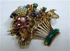 14K Gold Basket Brooch With Gemstones