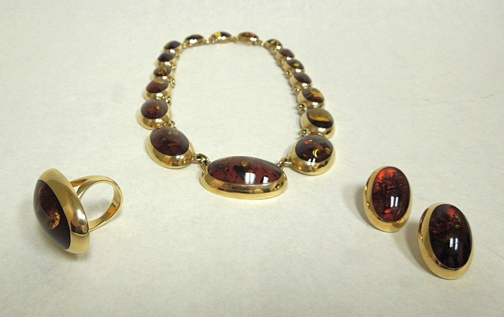 Halberstadt, Willy Jager 14k and amber jewelry set