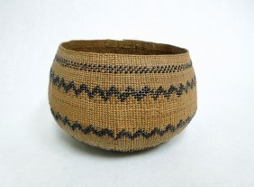 Native American Hupa woven Basket, rattle snake design