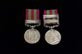 Two (2) British Military Medals-India General Service
