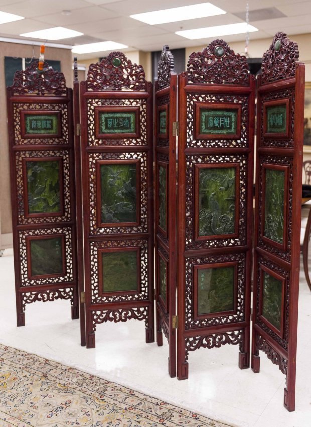 Chinese Rosewood and Jade Screen