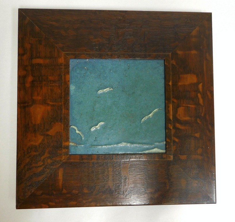 Grueby Faience Ceramic Tile, Gulls.