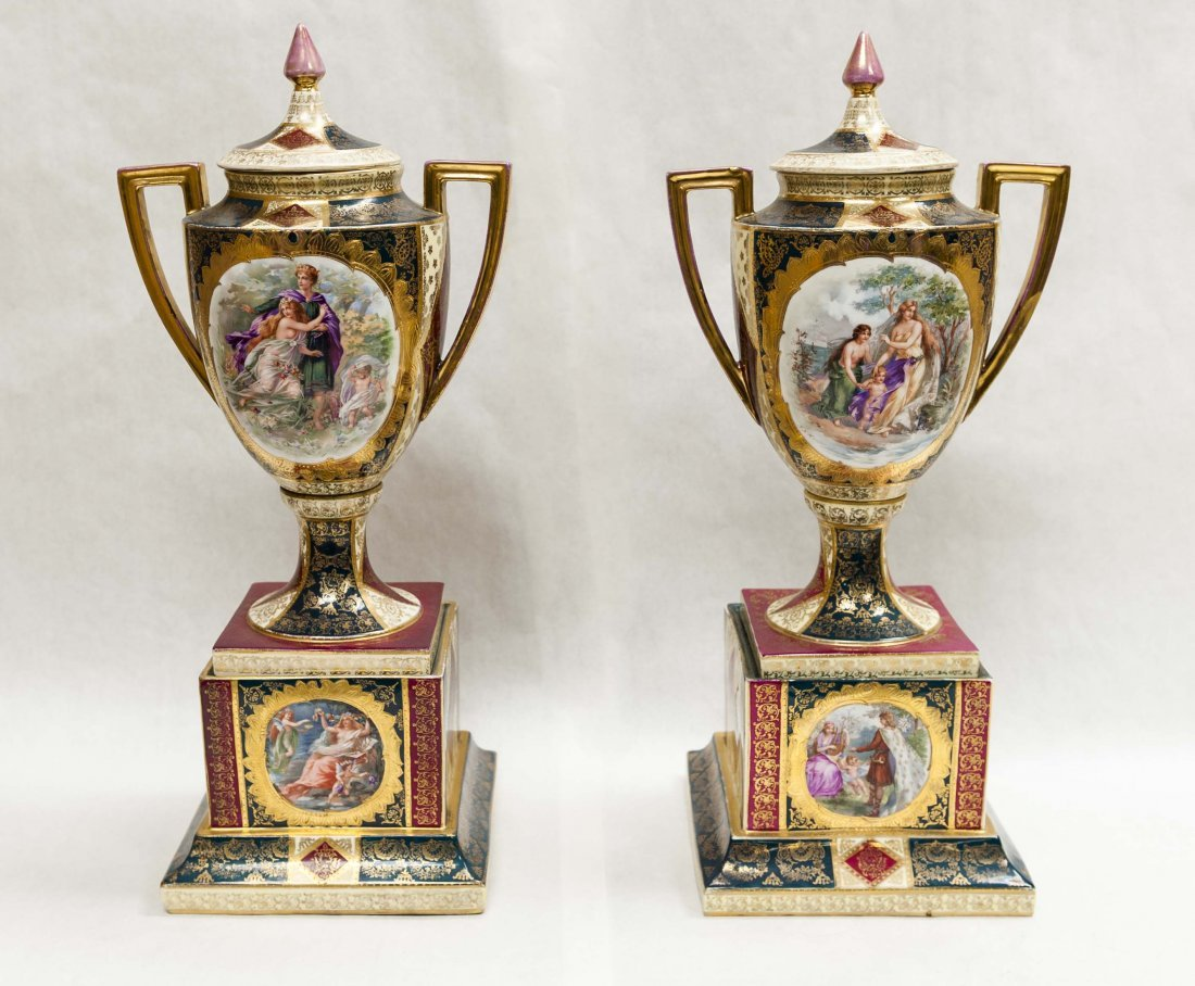 Pair of Austrian porcelain mantle vases and covers.