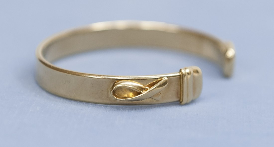 Italian Yellow Gold Cuff Bracelet.