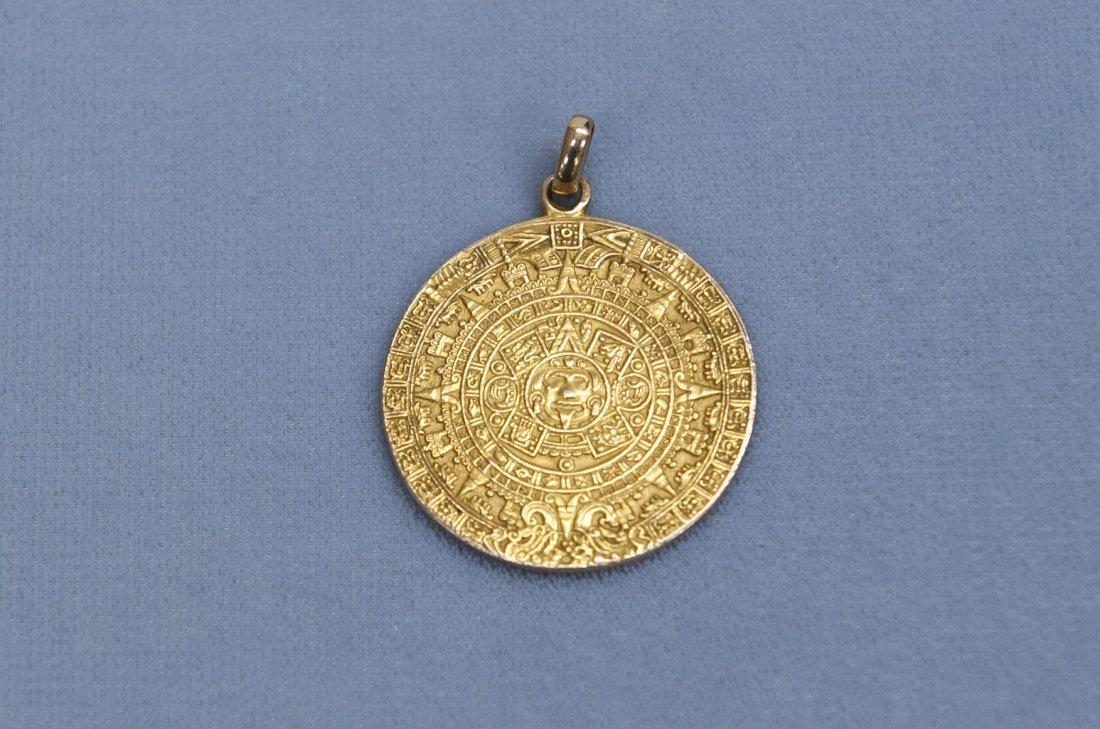 Yellow Gold Mayan Calendar Pendant.
