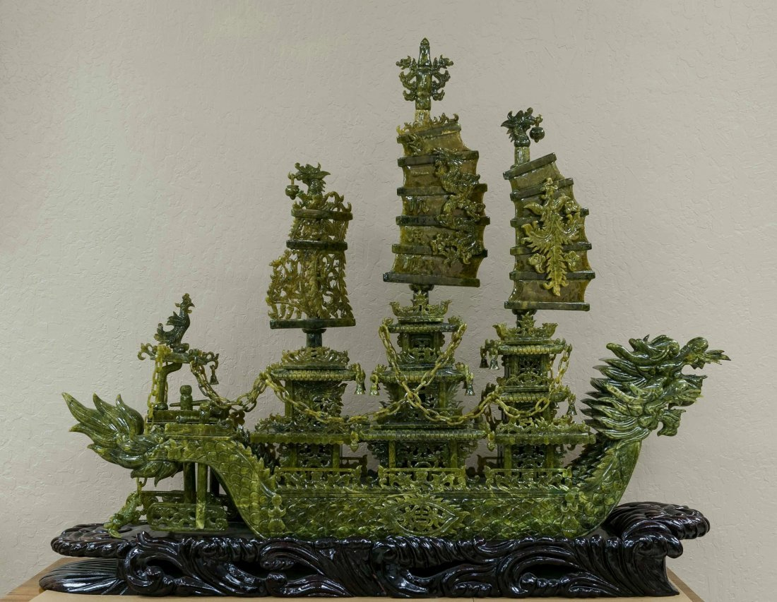 Elaborately Carved Hardstone Model of a Dragon Junk