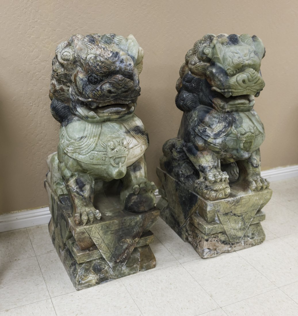 Pair of Chinese Large Hard Stone Foo Lions.