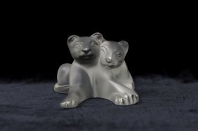 Lalique Crystal Tambwee Lion Cubs.