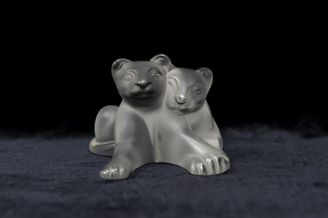 Lalique Crystal Tambwee Lion Cubs.