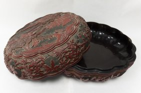 Carved Cinnabar and Lacquer Box.