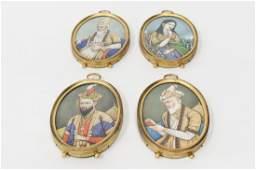 (4) Indian School Mughal Miniature Paintings.