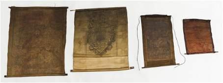 4 Tibetan Thangka Style Textiles